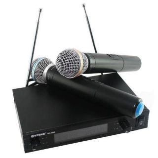 Microfone Jiaxi Wg2009sc Uhf Display Lcd 1 Freq S/Fio Mao Duplo 2 Ant.