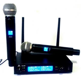 Microfone Jiaxi Wg2009sc Uhf Display Lcd 1 Frequência S/Fio Mão Duplo 2 Antenas