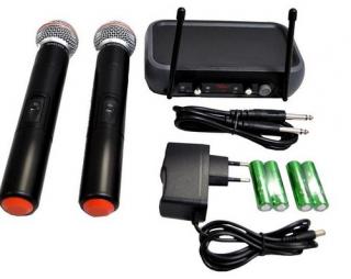 Microfone Leacs Lc102 Vhf S/Fio Mao Duplo 2 Ant. Pp
