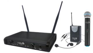 Microfone Lyco UH06MHLI UHF 1 Freq S/Fio Mão cabeça Lapela Trans. Instr. 2  Ant.