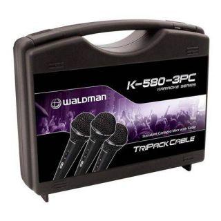 Microfone Waldman K580 3pc C/3 Pçs C/Caximbo C/Cabo