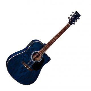 Violão Hofma Ye228 Aço Folk Elétrico, 6 Controles, Cutway, Afinador,   Azul Translucido