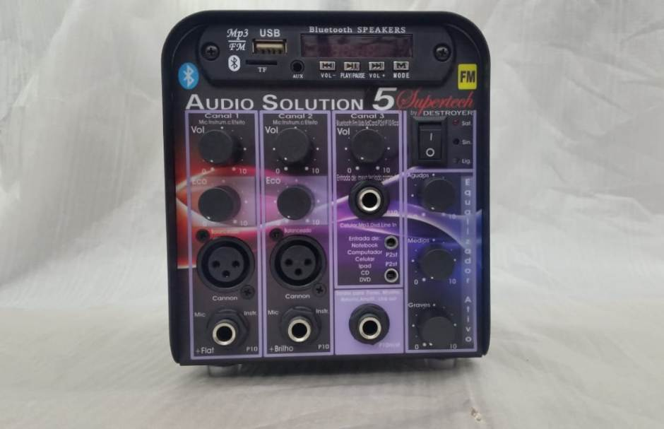 Amplificador Processador Supertech Audio Solution AS5 Bluetooth USB FM 3Canais 2Xlr C/Efeito 196WRF Propaganda