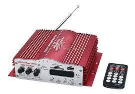 Amplificador USB SD FM 2 Canais Som p/ Ambiente, Festas, Propaganda, Carro, Moto, Bicicleta.