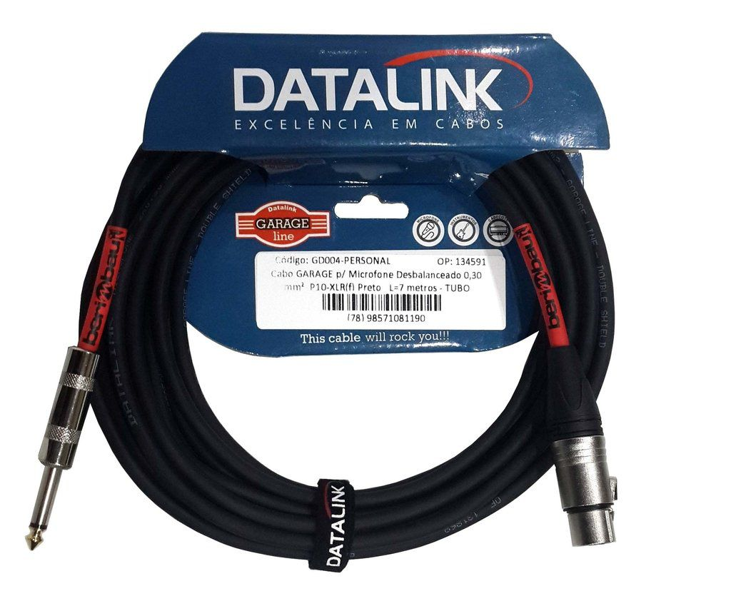 Cabo Microfone Datalink Gd004 Garage 7m Embo.P10 Xlrf Metal