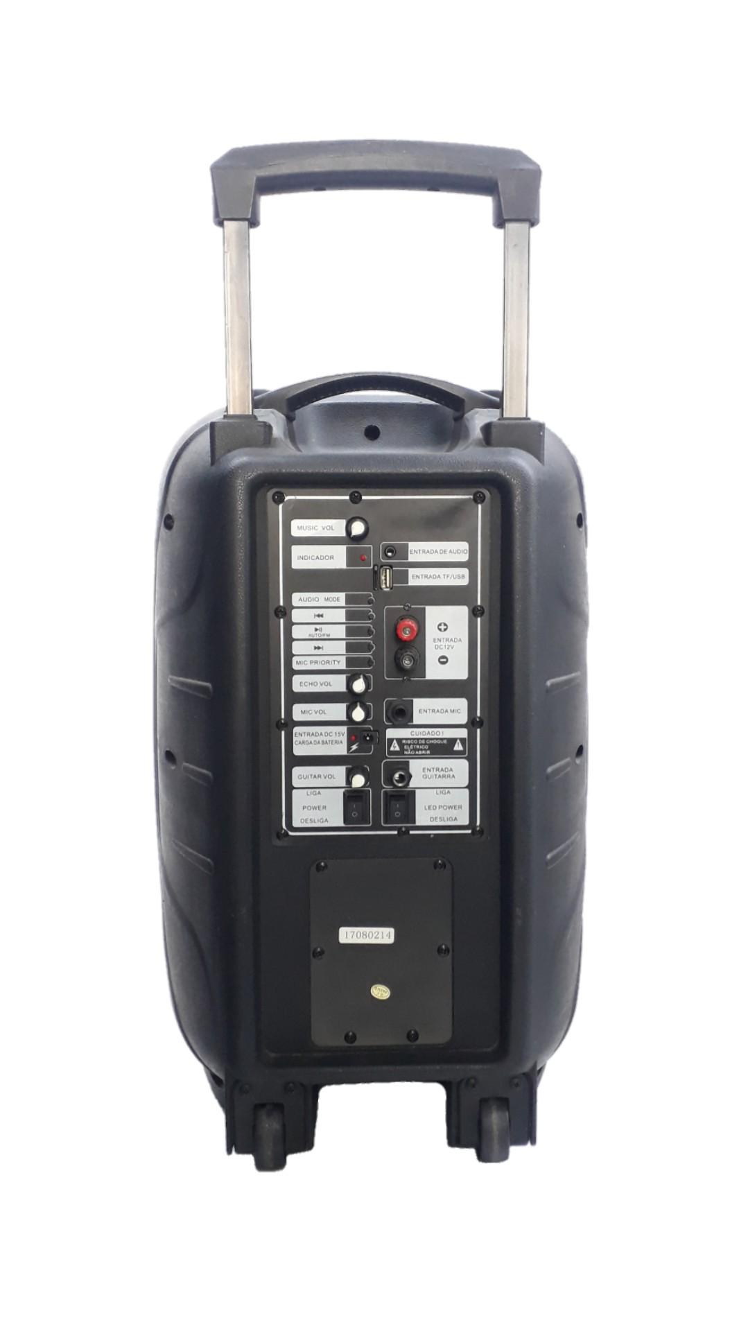 Caixa Amplificada Audmax 349 Blue.Usb/Sd/Fm,1microfone Falante de 12'Bat12v Roda Ativa 240wref