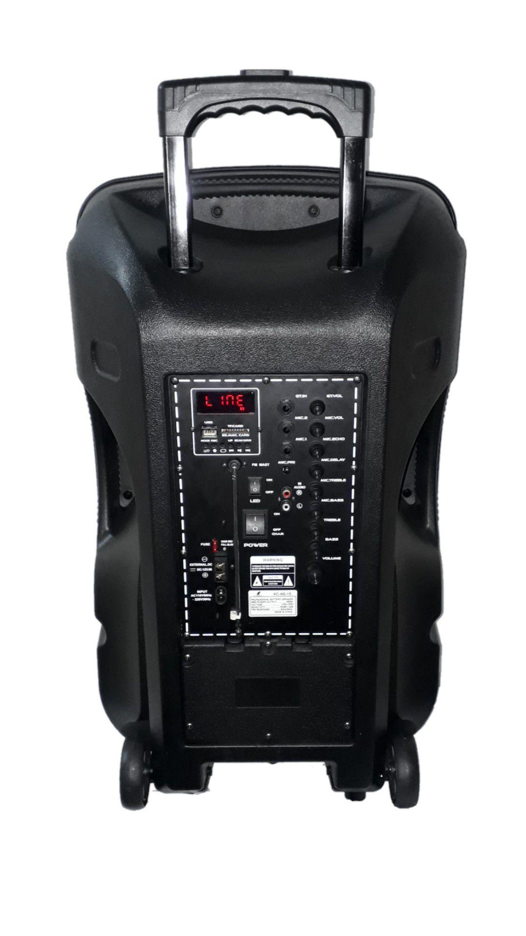 Caixa Amplificada XCELL XCK6-15 Blue.Usb/Sd/Fm,2mic.S/Fio Fal15 Bat12v Roda Ativa C/Cont.Rem. Propaganda