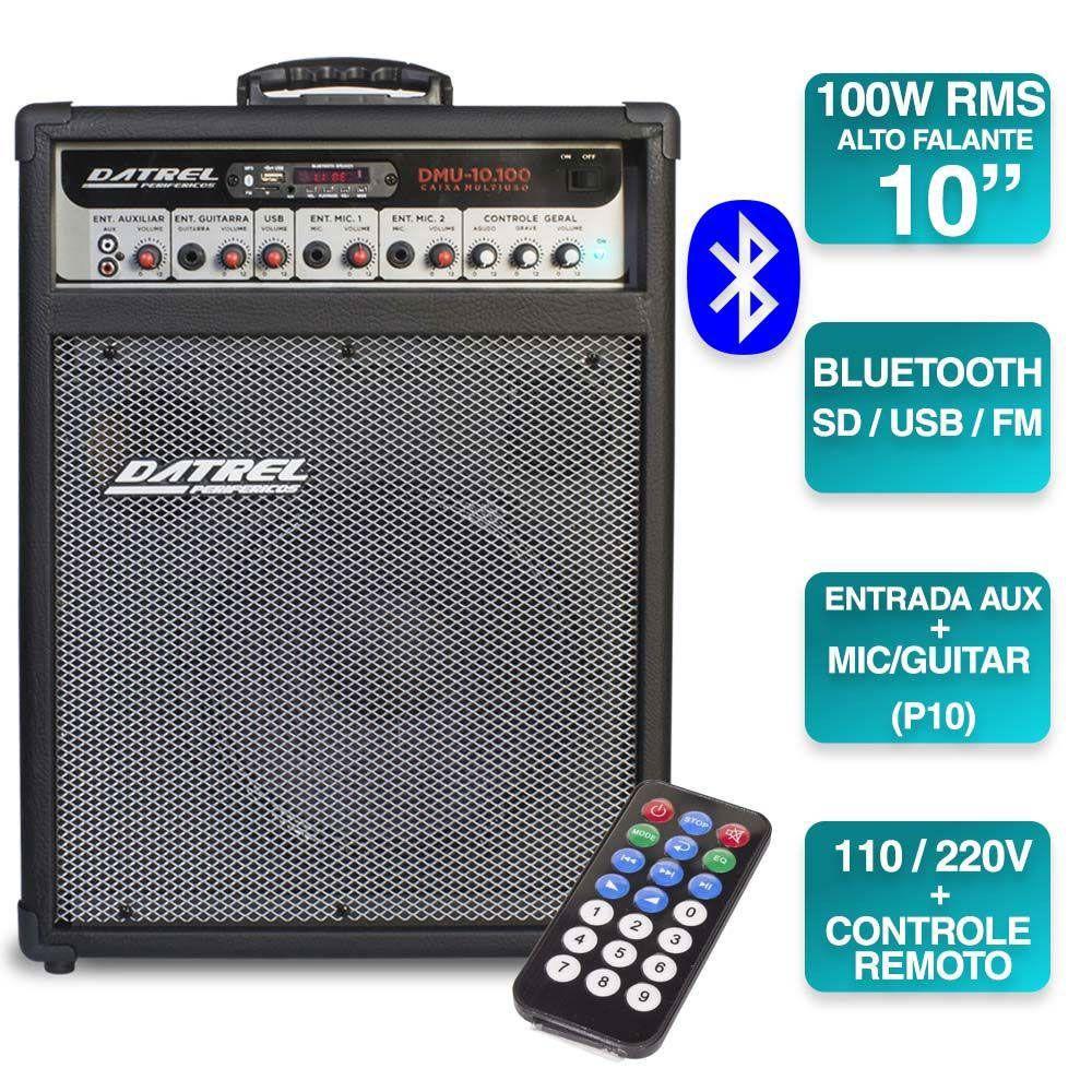 Caixa Amplificada Datrel Dmu10.100 Bluetooth Usb/Cd/Fm C/Cont.Remoto Multiuso 100wrms