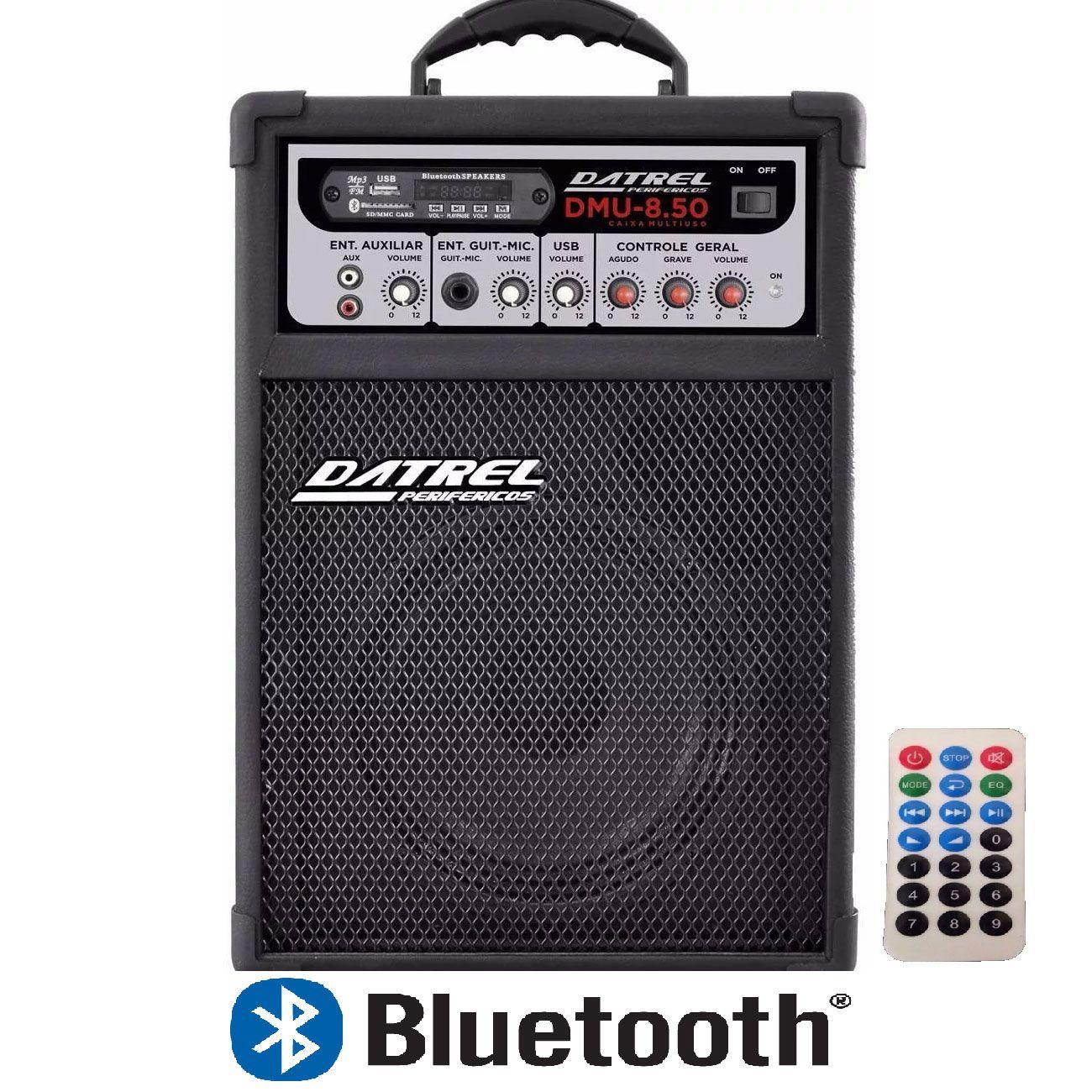 Caixa Amplificada Datrel Dmu8.50 Bluetooth Usb/Cd/Fm C/Controle Remoto Multiuso 50wrms