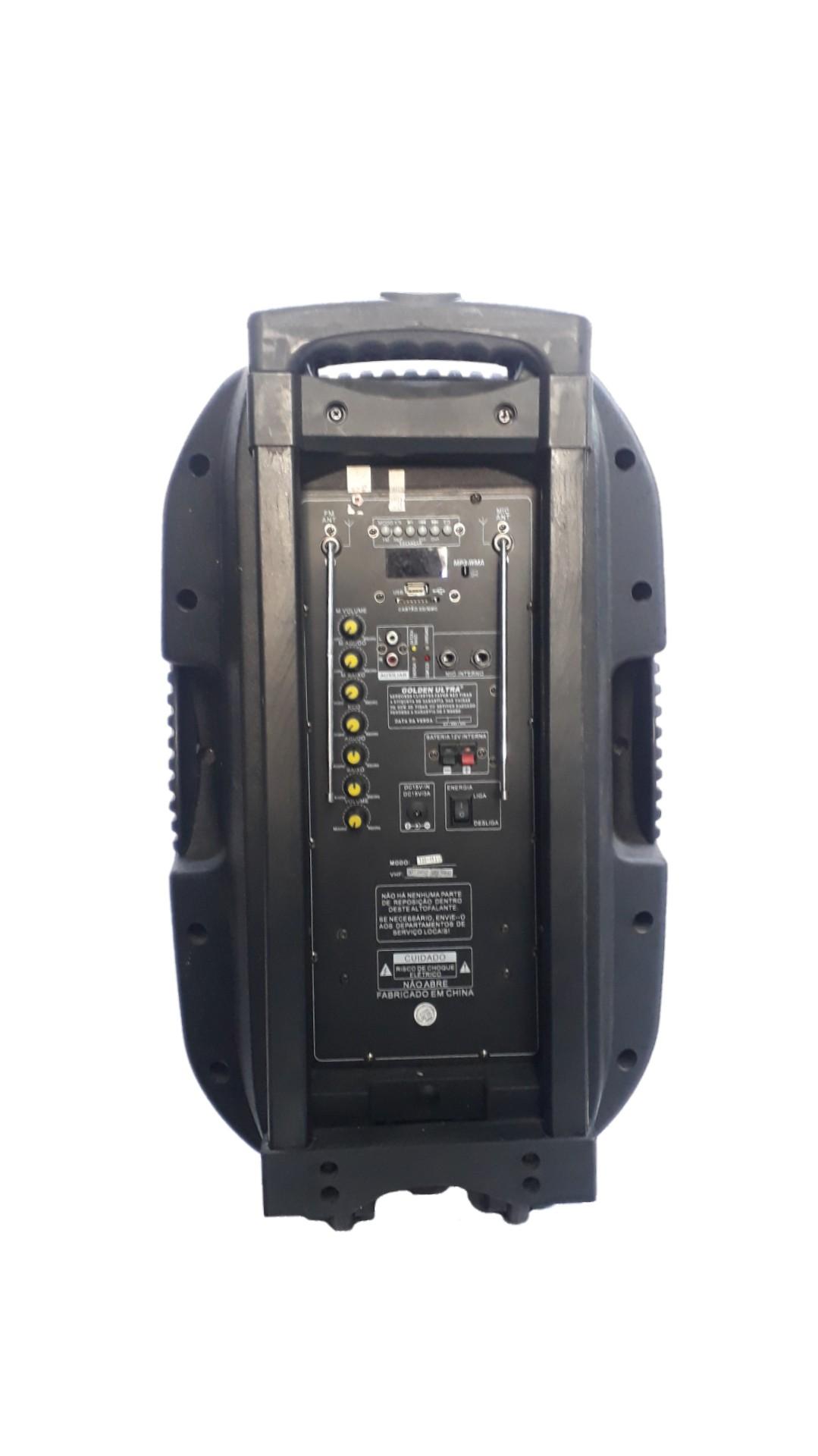 Caixa Amplificada  Golden Ultra 12´Ihb12 Usb2microfones s/Fio Fm Eco Bateria 12v Roda Ativa Controle Remoto