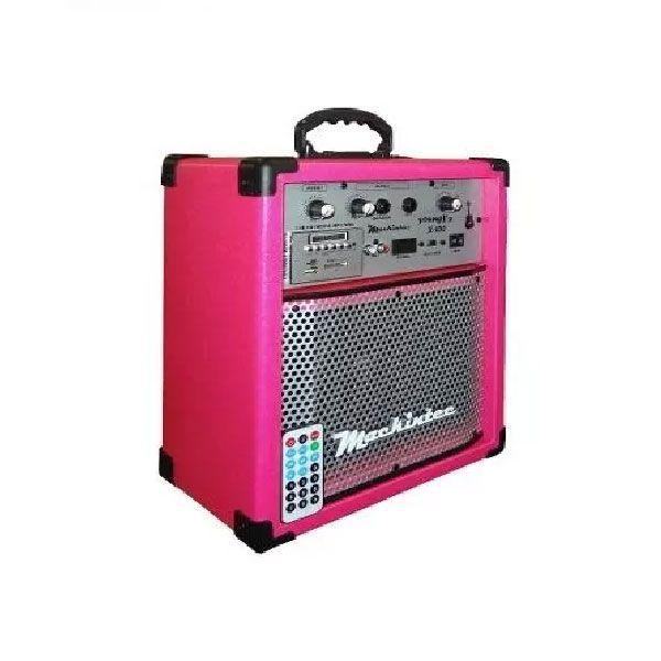 Caixa Amplificada Mackintec Yonng Uz X150 Usb/Sd/Fm C/Controle Remoto Multiuso 15w Rosa