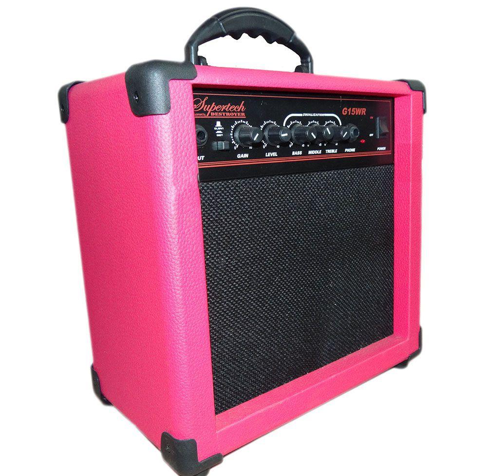Caixa Amplificada Supertech  G15WR Rosa