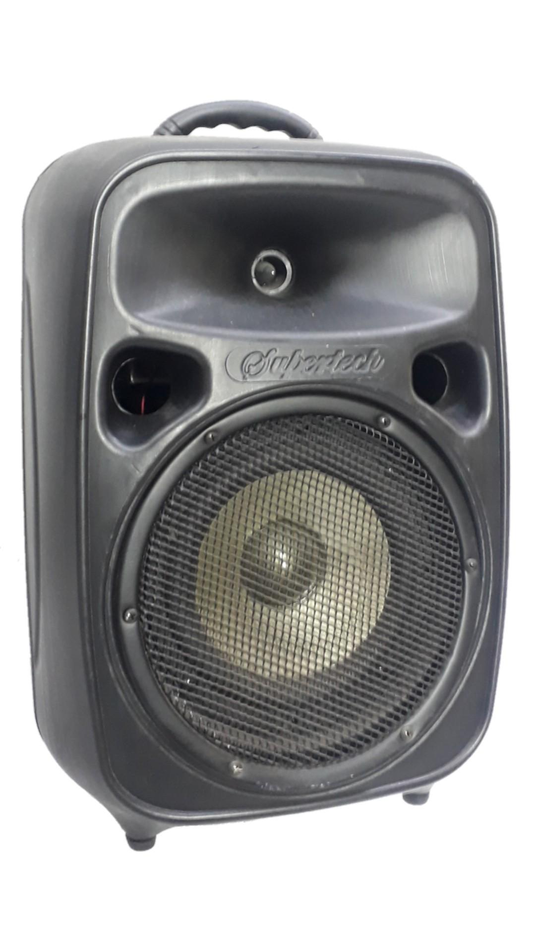 Caixa Amplificada Supertech Pe10 Turbinada Usb/Sd/Fm,Falante8, Auto rádio C/Mix 2canais, 6entradas, Fonte05476,Ativa 272wref Preta propaganda