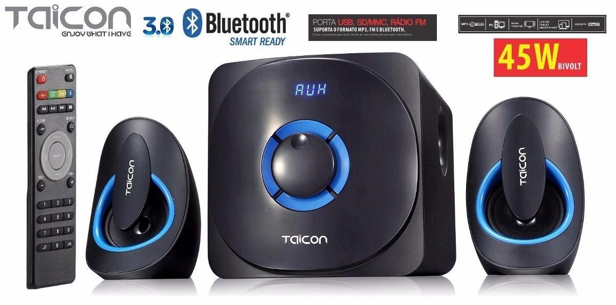 Caixa Amplificada Taicon Ta0701t Bluetooth Usb/Sd/Fm C/Controle Remoto Multimidia 45wrms
