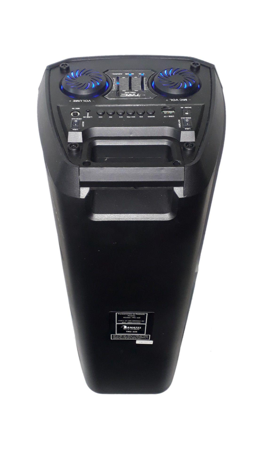 CAIXA AMPLIFICADA TRC 335 2FAL6 USB/SD/BLUE/FM 1MICROFONE C/FIO, CONTROLE REMOTO, BATERIA 200W