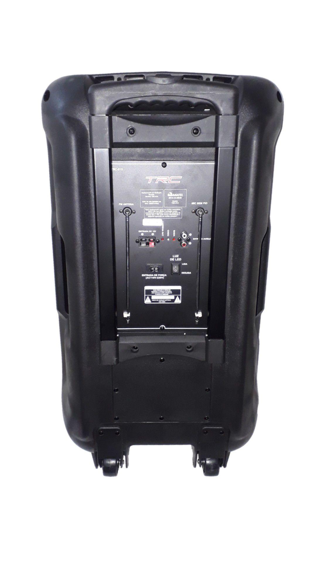 CAIXA AMPLIFICADA TRC 515 BLUETOOTH, USB/SD/FM,4ENTRADAS,1MICROFONE S/FIO, FALANTE15',BATERIA12V RODA ATIVA, C/CONTROLE REMOTO 500W REF