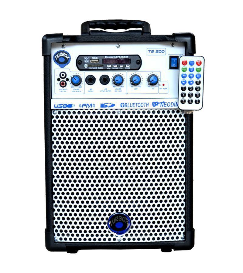 Caixa Amplificada Turbox Tb200 Bluetooth Usb/Cd/Fm,Falante6', C/Controle Remoto, Multiuso 40wrms