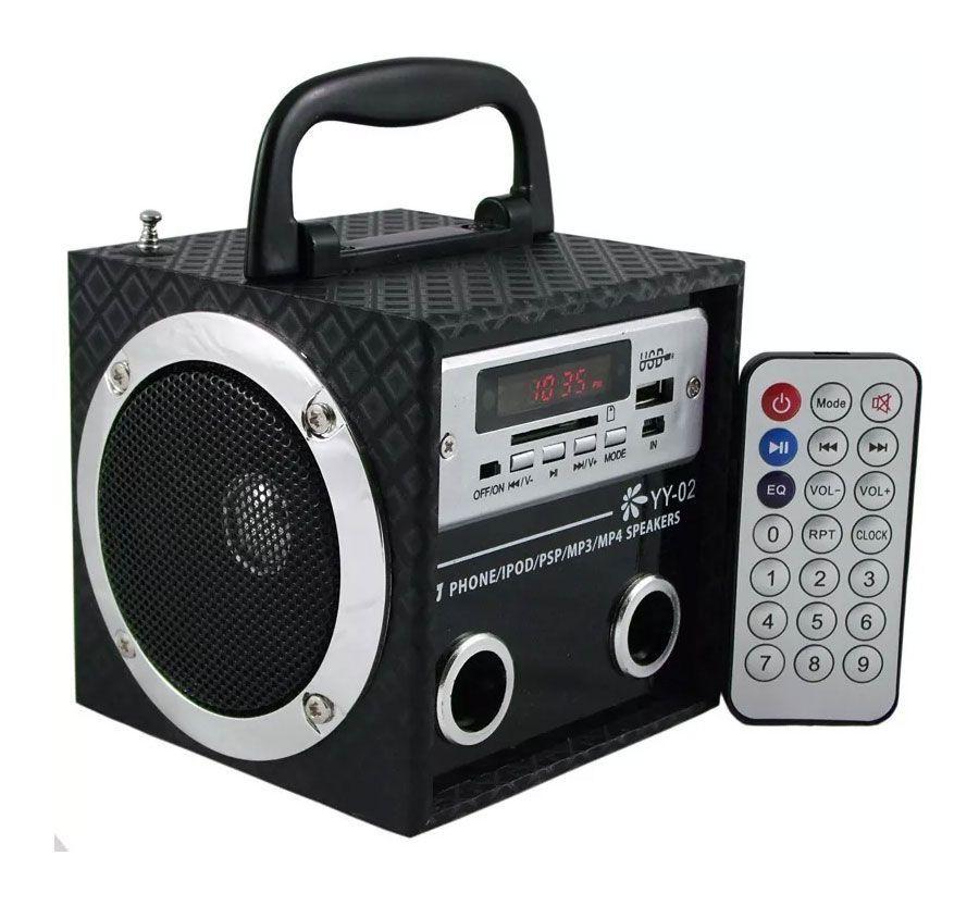 Caixa Amplificada Yy02 Mini Usb/Sd/Mp3/Fm. 2falantes, C/Bateria S/Fonte C/Controle Remoto