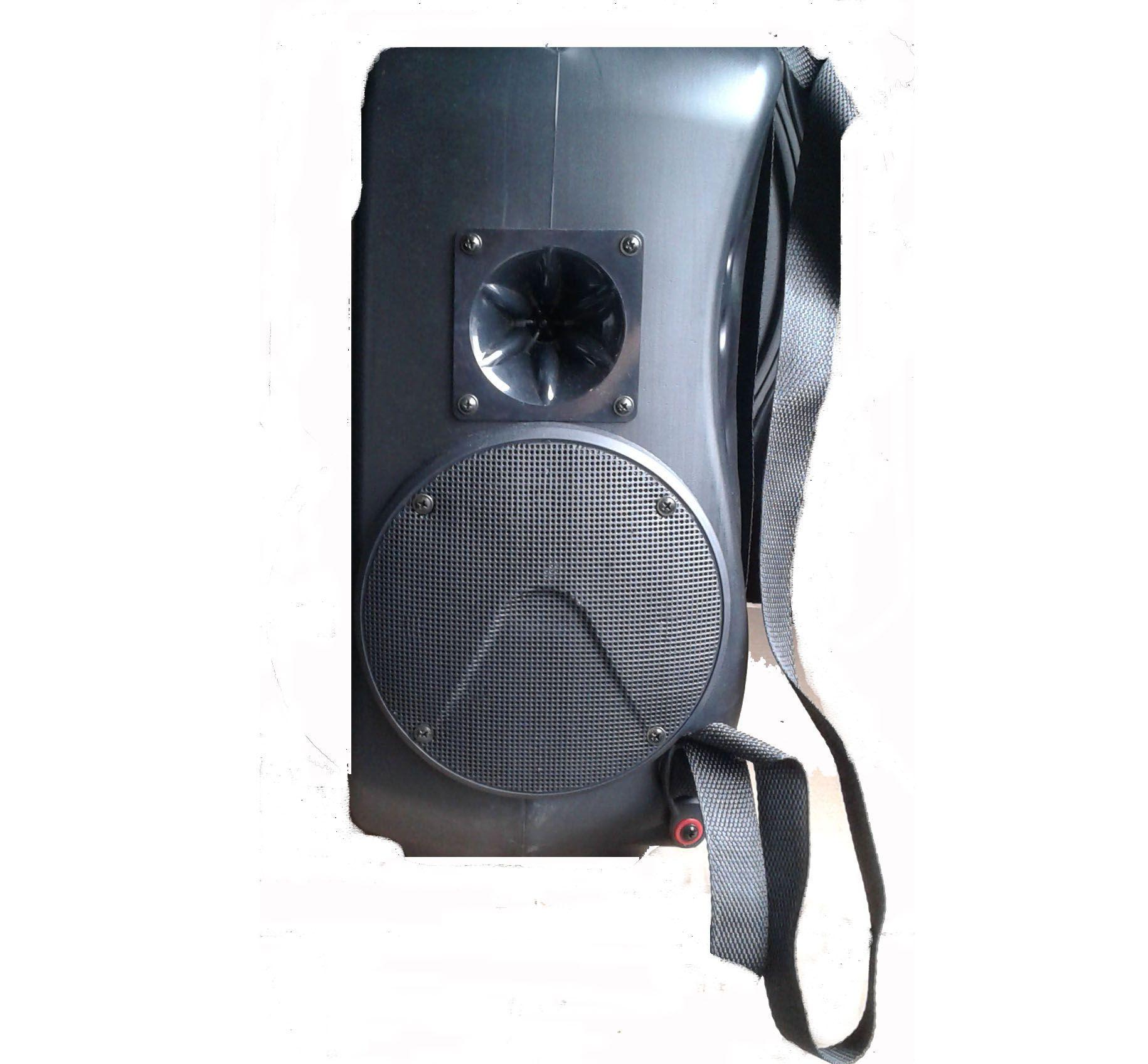 """Caixa supertech Mochila Som MA120 3 Falantes de 6"""" Secos Ativo Bateria  12V  USB  SD Propaganda"""