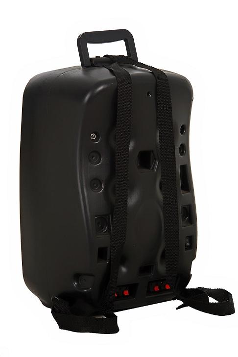 """Caixa Supertech Mochila Som R612V Falante de 6"""" Ativa Bateria 12V C/ USB SD Propaganda"""