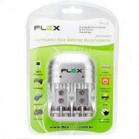 Carregador Flex Fxc03/4p Bivolt C/4 Pilhas Aa 2900 Mah C/Desl.Auto.