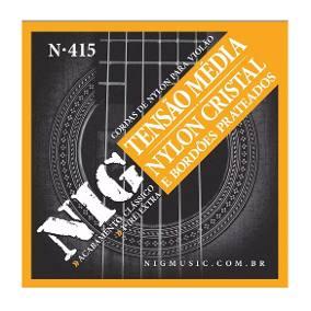 Encordoamento Violão Nig N415 Nylon Cristal Prateado Media Tensão