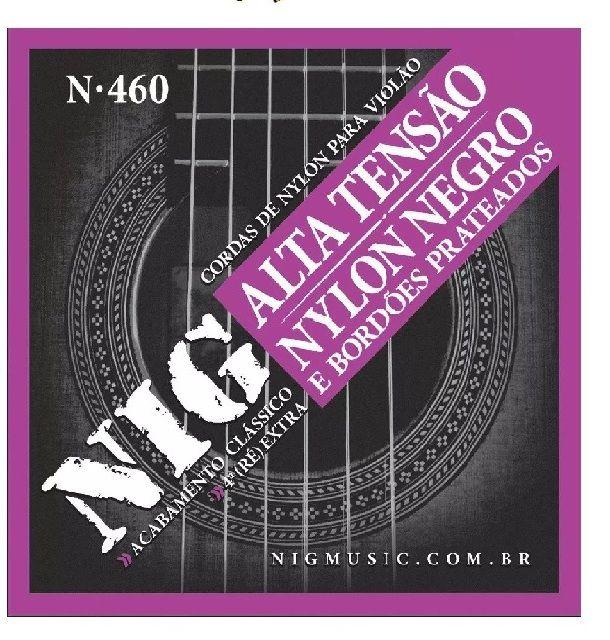Encordoamento Para Violão Nig N460 Nylon Preto Alta Tensão