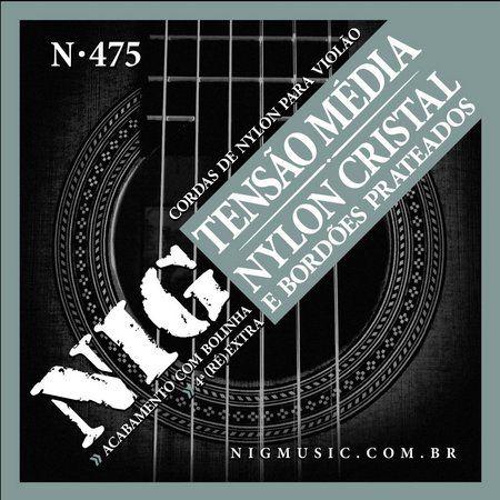 Encordoamento Para Violão Nig N475 Nylon Cristal Prateada C/Bolinha Media Tensão