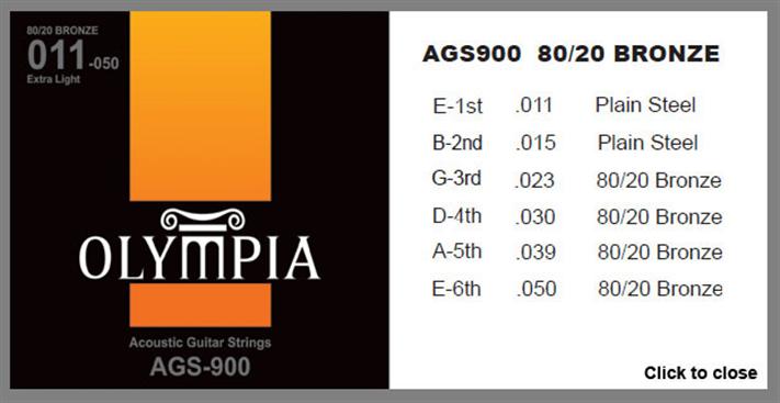 Encordoamento Para Violão Olympia  AGS900 Bronze Medium Aço 011