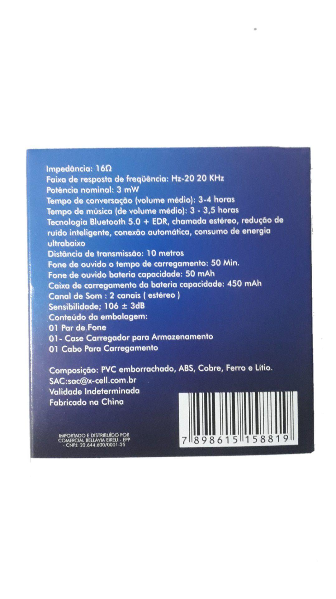 FONE OUVIDO XCELL BLUETOOTH XC-BTH 20 C/CARREGADOR 2FONES
