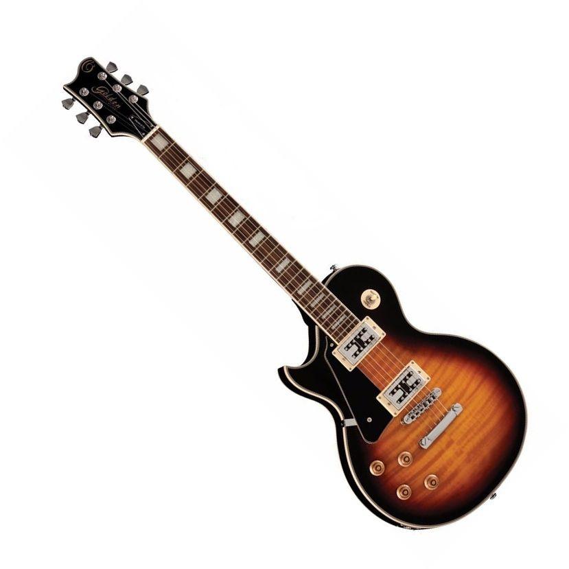 Guitarra Canhoto Golden GLD150C Lespaul Cap. Wilkinson Sumburst