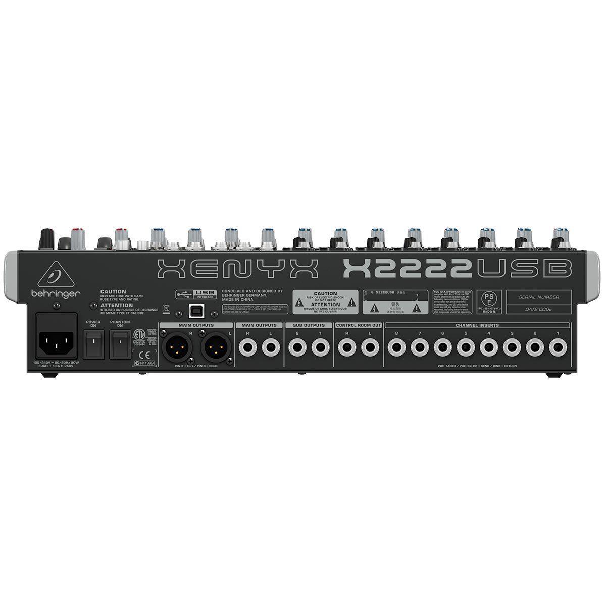 Mesa 22 Canais Behringer Xenyx  X2222USB Efeito 8 Canais Xlr Phantom Power
