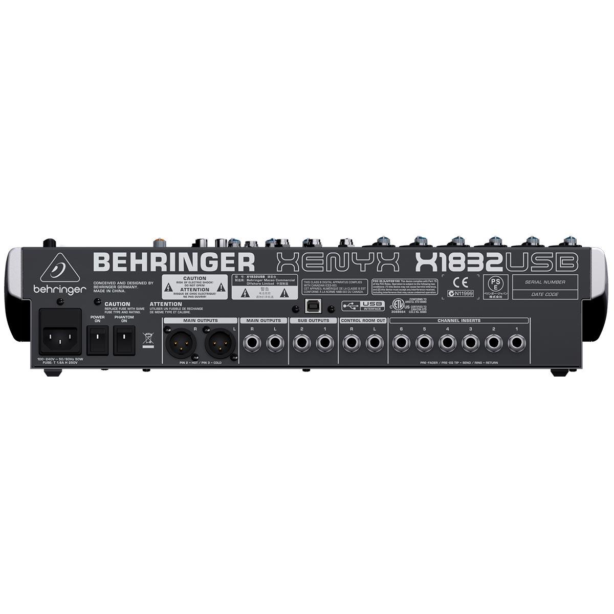 Mesa 18 CanaisBehringer Xenyx X1832USB Efeito 6 Canais Xlr Phantom Power FBQ XPQ