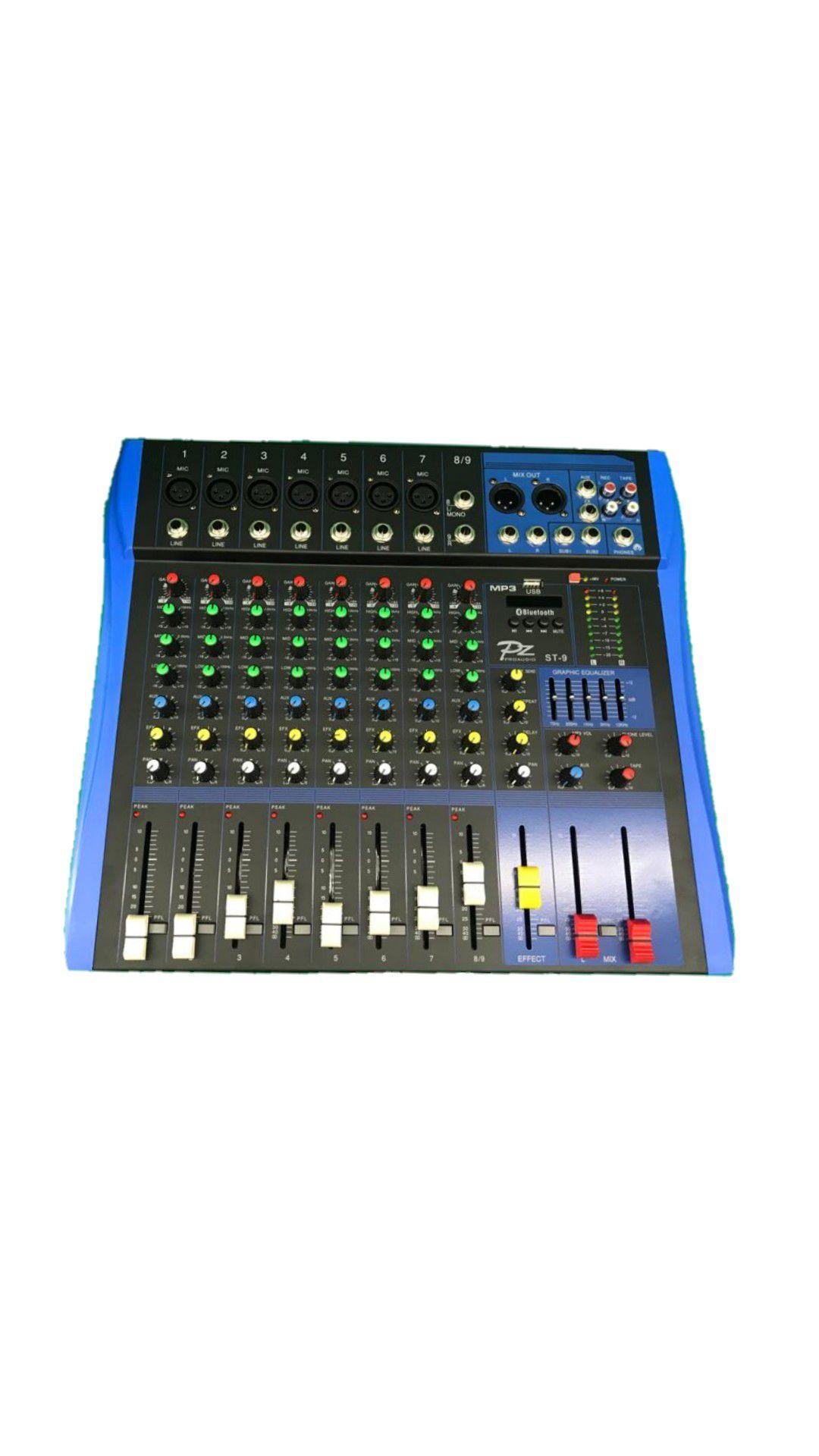 MESA.9CANAIS PZ PROAUDIO PZST9 7XLR 2P10 C/PHANTOM USB BLUETOOTH 1AUX