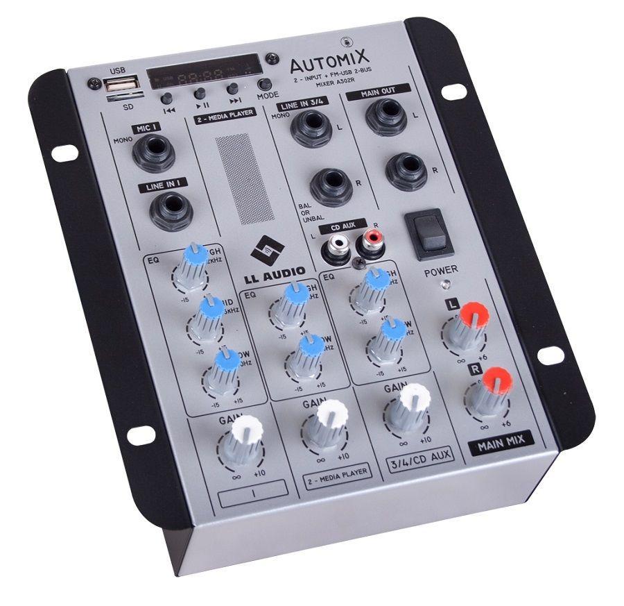 Mesa De Som 3 Canais Ll A302rbt Bluetooth Usb 12v Automix