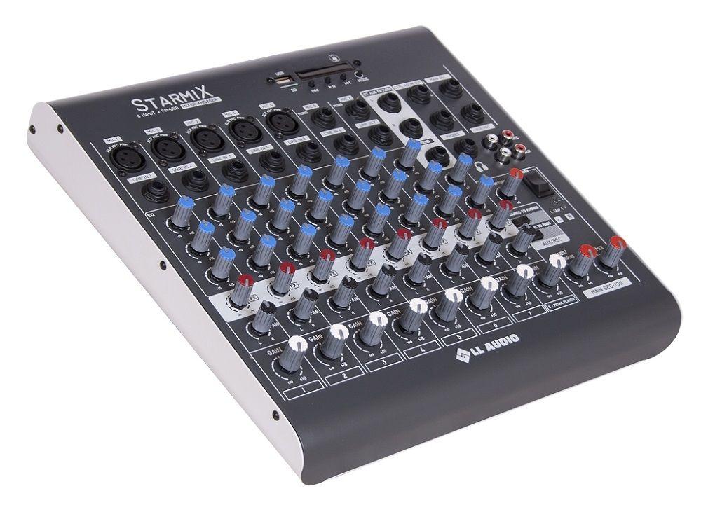 Mesa De Som 8 Canais Ll Starmix Xms802r Bluetooth Usb,Sd,5can.Xlr,Cont.Remoto