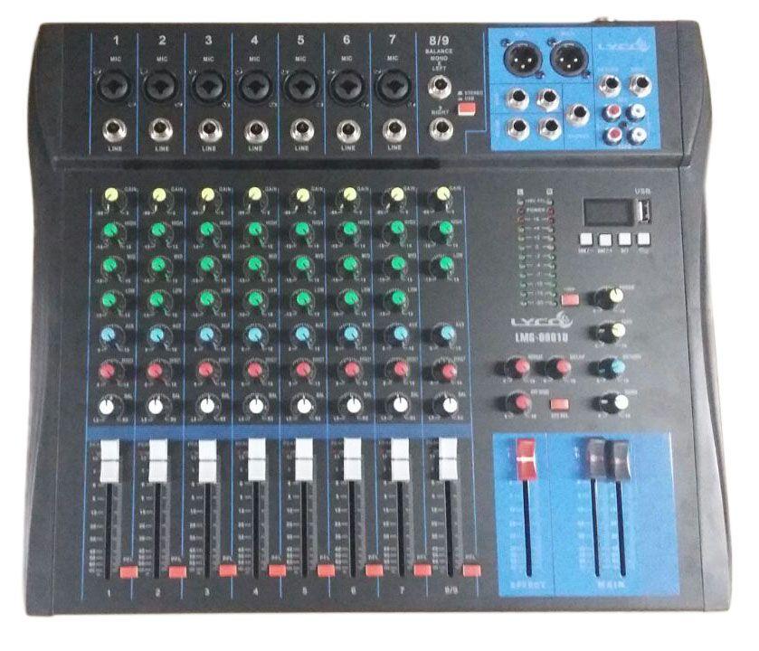 Mesa 9 Canais Lyco  LMG0901U Usb 07 Canais XLR/TRS 2 Canais P10 C/Efeito Repeat/delay Phanto Power