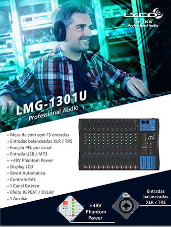 Mesa 13Canais Lyco LMG1301U Usb,11 Canais XLR/TRS 2 Canais P10 C/Efeito Repeat/Delay Phanto Power