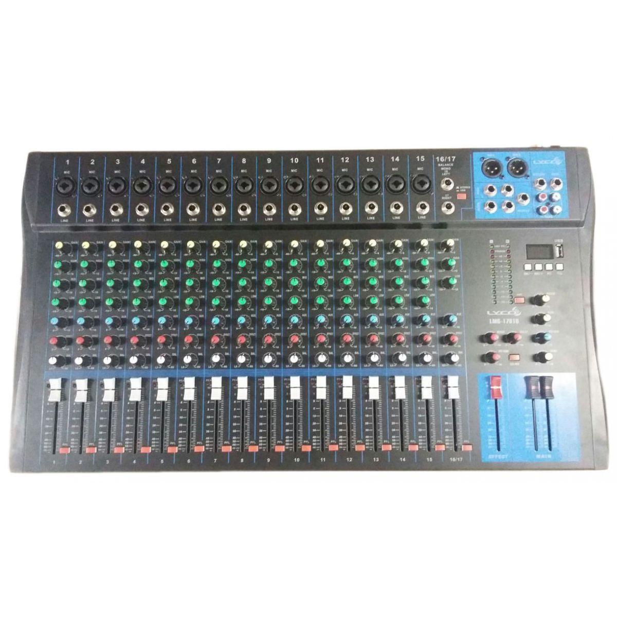 Mesa 17 Canais lyco LMG1701U Usb.15 Canais XLR/TRS, 2 Canais P10,C/Efeito Repeat/Delay, Phanto Power