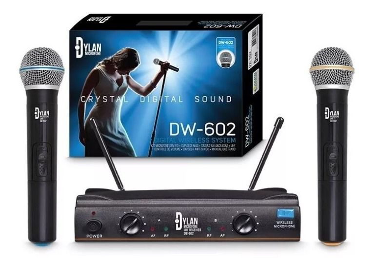 MICROFONE DYLAN DW602 S/FIO DUPLO MAO .T IMPORT