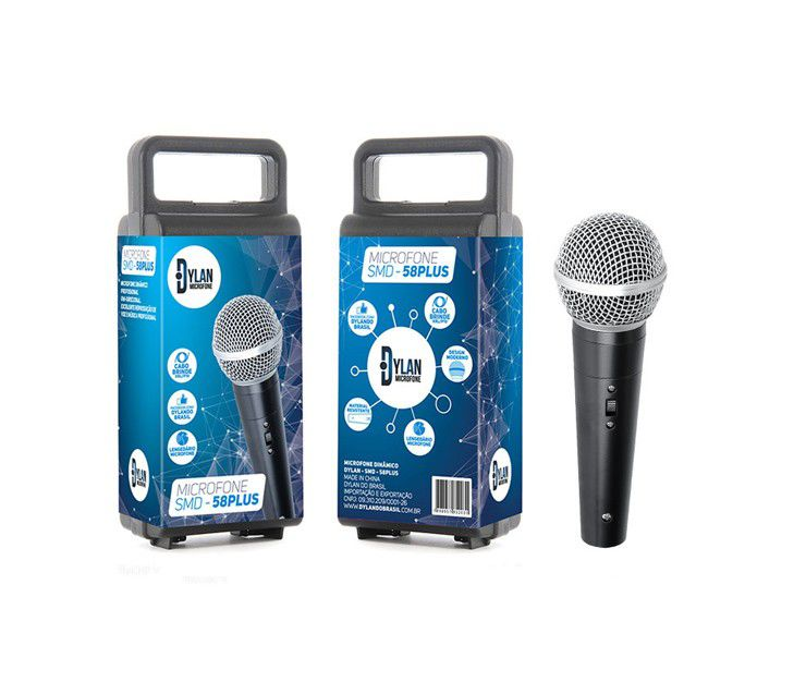 Microfone Dylan Smd58 Plus Chave C/Cabo Xlr P10