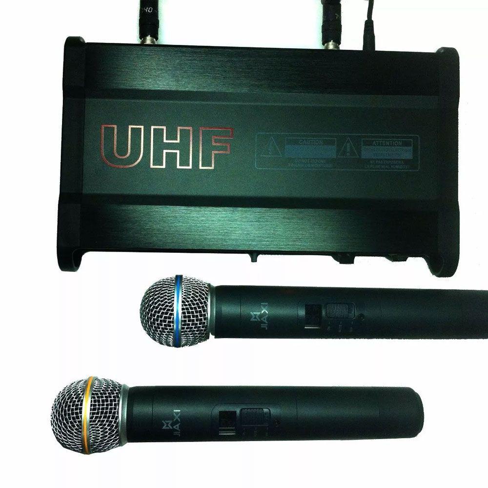 Microfone Jiaxi KU65 UHF Display Lcd 1 Frequência S/Fio Mão Duplo 2 Antenas
