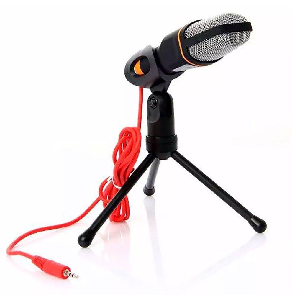 Microfone Jiaxi SF402 Mini Condensador C/Suporte De Mesa P2