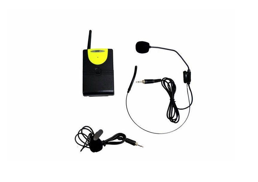 Microfone Leacs LC203 Uhf 1 Freq. S/Fio Mão Cabeça e Lapela 2 Antenas