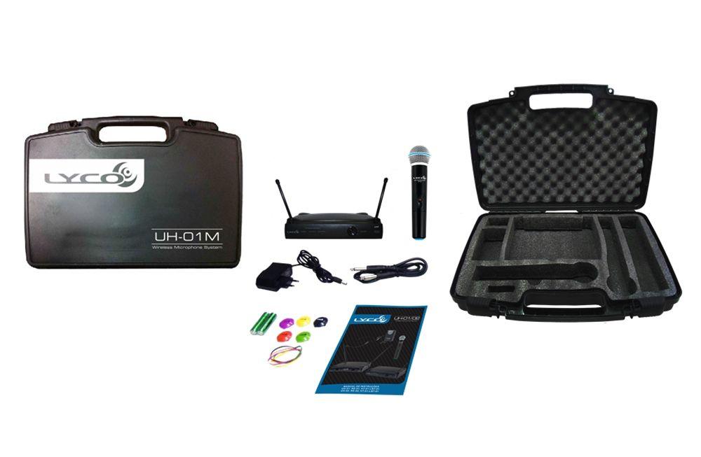 Microfone Lyco  UH01M UHF 1 Frequência S/ Fio Mao 2 Antenas