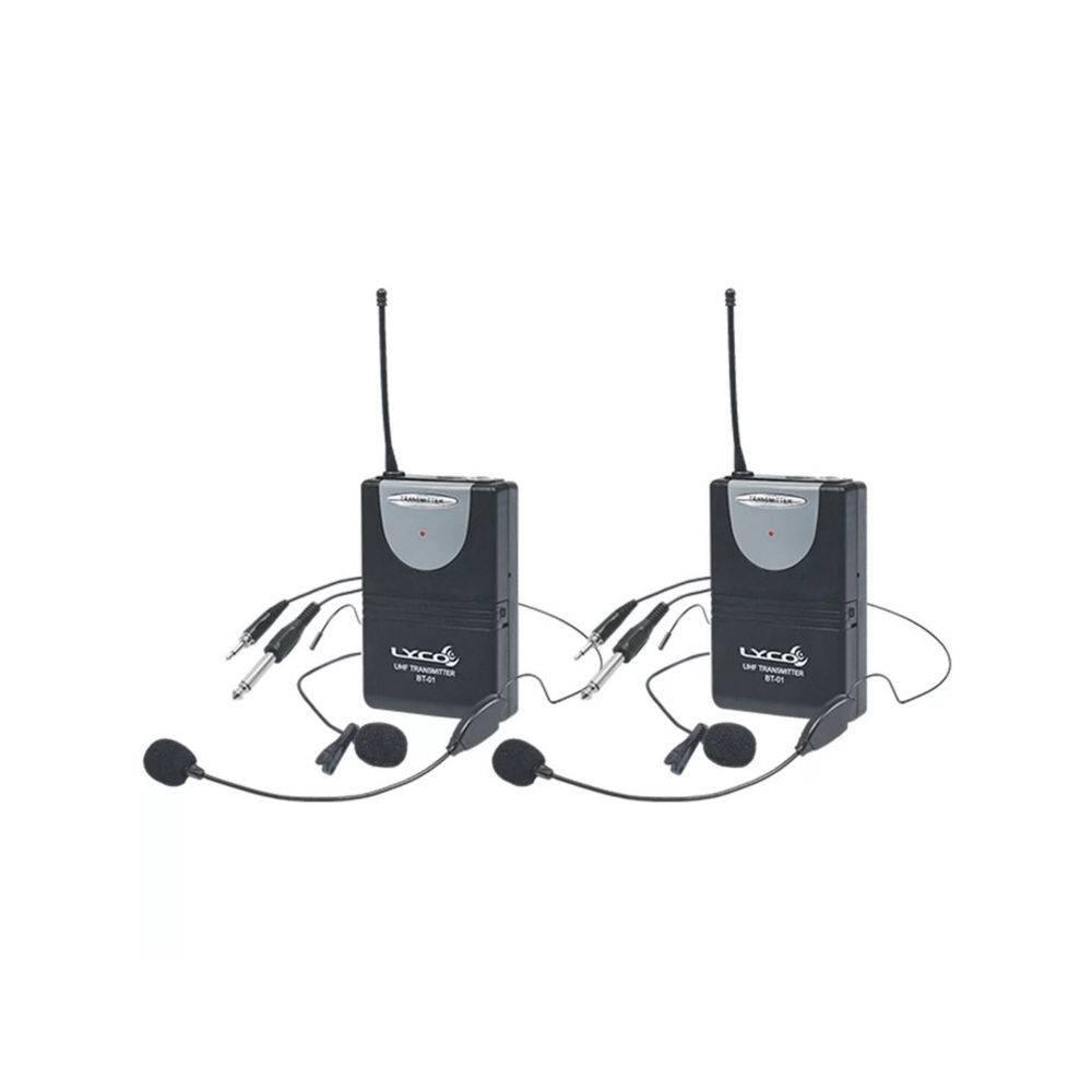 Microfone Lyco UH02HLIHLI UHF 1 Frequência  S/Fio Cabeça Duplo, Lapela, Tran