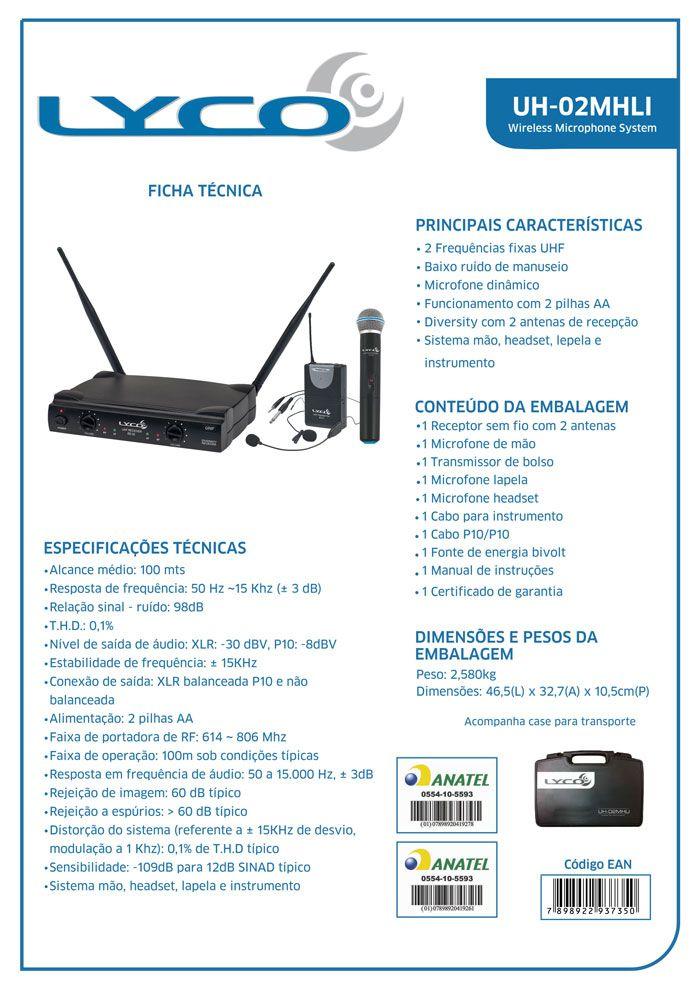 Microfone Lyco UH02MHLI UHF 1 Freq S/fio Mao, Cabeça, Lapela