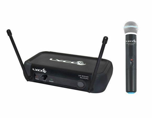 Microfone Lyco UH03PGM UHF 1 Frequência, S/Fio,  Mão,  2 Antenas