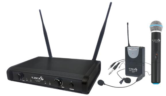 Microfone Lyco UH06MHLI UHF 1 frequência, S/Fio,  Mão,  cabeça, Lapela,  Transmissor, Instrumento 2  Antenas