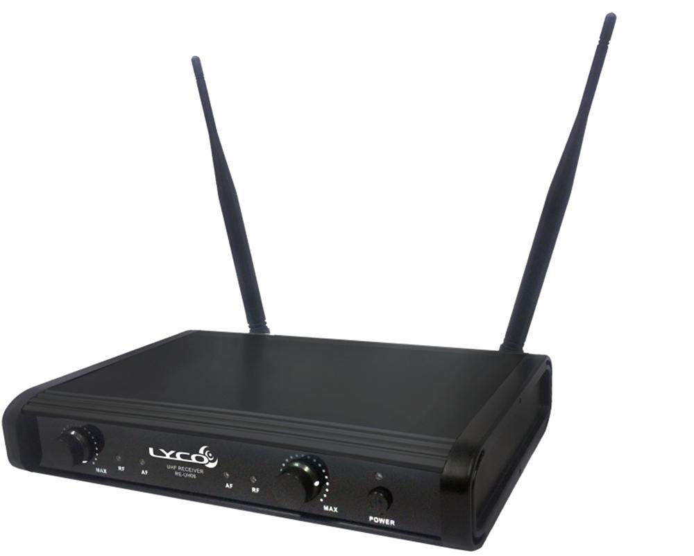Microfone Lyco  UH06MM UHF 2 Frequências S/ Fio Mão Duplo 2 Antenas